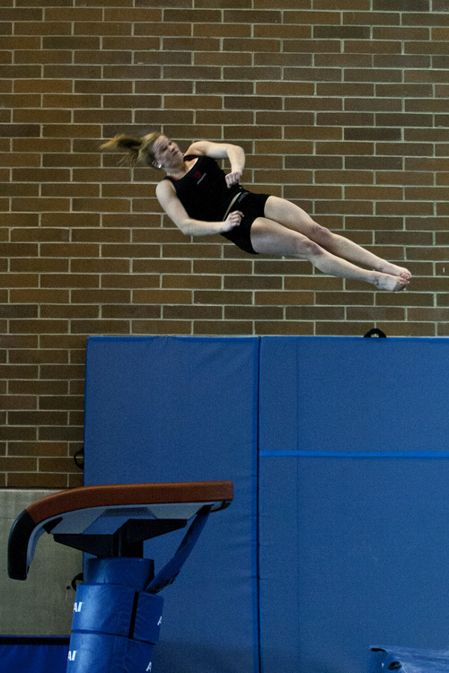 Chris Detrick  |  The Salt Lake Tribune Utah gymnast Tory Wilson practices on the vault  Jan. 29, 2013.