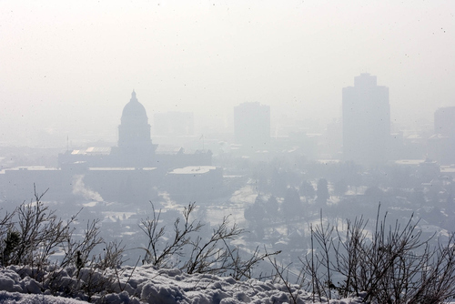 Paul Fraughton  |   The Salt Lake Tribune The Utah State Capitol Building  and the downtown buildings of  Salt Lake City are shrouded  in a thick layer of smog  as the winter inversion continued on Jan. 22, 2013.