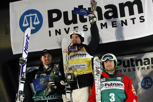Chris Detrick  |  The Salt Lake Tribune Alex Bilodeau, second place, Mikeal Kingsbury, first place, and Patrick Deneen, third place, celebrate after winning the mogul competition of the 2013 FIS Freestyle World Cup at Deer Valley Resort in Park City Thursday January 31, 2013.