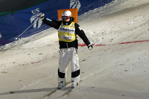 Chris Detrick  |  The Salt Lake Tribune Mikeal Kingsbury, of Canada, celebrates after winning the mogul competition of the 2013 FIS Freestyle World Cup at Deer Valley Resort in Park City Thursday January 31, 2013.