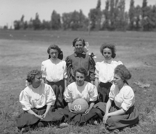 (Courtesy of Utah Historical Society) Six women basketball players from the Lowell School, posing for a team photograph in 1909.