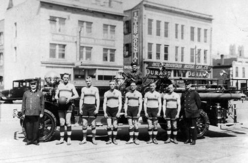 (Courtesy of Utah Historical Society)  S.L.C. Fire Dept. Basketball team, c. 1900.