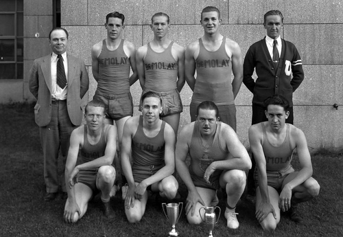 (Courtesy of Utah Historical Society) DeMolay Basketball Team, 1934. According to their website, DeMolay is an organization dedicated to preparing young men to lead successful, happy and productive lives. Basing its approach on timeless principles and practical, hands-on experience, DeMolay opens doors for young men aged 12 to 21 by developing the civic awareness, personal responsibility and leadership skills so vitally needed in society today. DeMolay alumni include Walt Disney, John Wayne, Walter Cronkite, football Hall-of-Famer Fran Tarkenton, legendary Nebraska football coach Tom Osborne, news anchor David Goodnow and many others.