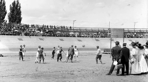 (Courtesy of Utah Historical Society) Boys play basketball at Wandamere Park in Salt Lake during field day in 1911. Wandamere was located between 1300 and 1400 South at 500 to 700 East.