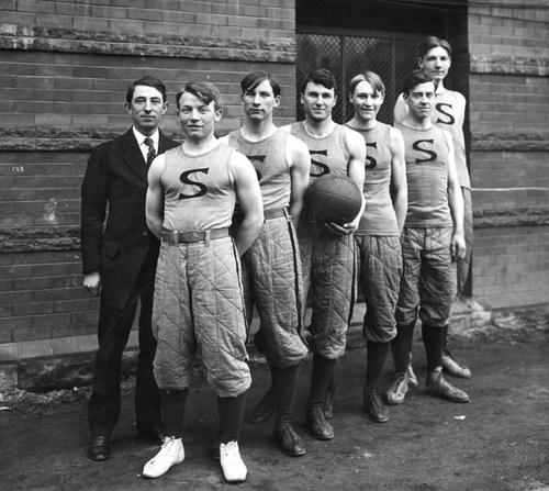(Courtesy of Utah Historical Society)  L.D.S. University basketball team, Jan. 27, 1909. The team was state champion.