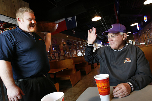 Scott Sommerdorf   |  The Salt Lake Tribune Former U of U football coach Ron McBride is treated like The Mayor at the Sonny Bryan's Smokehouse in Salt Lake where he regularly visits, Wednesday, January 16, 2013. The gregarious McBride is one of the recruiters who historically has made inroads into the Polynesian culture.