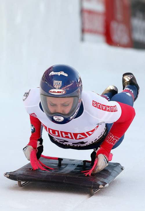 US athlete Noelle Pikus-Pace starts her first run during the women's Skeleton World Championship in St. Moritz, Switzerland, Thursday, Jan. 31, 2013. (AP Photo/Keystone, Arno Balzarini)