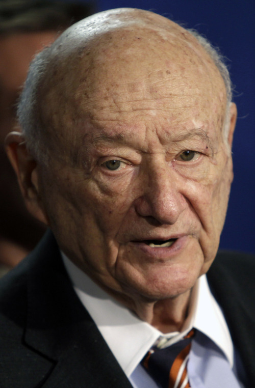FILE - In this March 1, 2011 file photo, former New York Mayor Ed Koch speaks during a news conference in Albany, N.Y. Koch, 88, has been moved to intensive care, Thursday, Jan. 31, 2013. Spokesman George Arzt said that Dr. Joseph Tenenbaum, who's Koch's cardiologist and lead doctor, wanted to monitor the former mayor more closely. (AP Photo/Mike Groll, File)