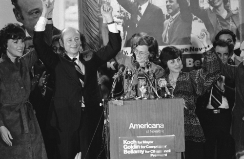 """FILE - In this Nov. 8, 1977, file photo, Rep. Ed Koch, second from left, celebrates in New York with Bess Myerson, left, Carol Bellamy, center Diana Goldin, second from right, and her husband Harrison Goldin after being elected as New York's mayor. Ed Koch, right, as they leave New York's Grand Central after holding a news conference for the """"Committee to Save Grand Central Station."""" Koch, the combative politician who rescued the city from near-financial ruin during three City Hall terms, has died at age 88. Spokesman George Arzt says Koch died Friday morning Feb. 1, 2013 of congestive heart failure. (AP Photo/Ray Stubblebine, File)"""