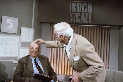 """FILE - In this March 15, 1987, file photo, New York Mayor Ed Koch gets his head powered by a make-up artist before the start of his new television call-in program, """"Koch on Call"""" at New York's Channel 5. Koch, the combative politician who rescued the city from near-financial ruin during three City Hall terms, has died at age 88. Spokesman George Arzt says Koch died Friday morning Feb. 1, 2013 of congestive heart failure. (AP Photo/Frank Franklin II, File) (AP Photo/David Bookstaver, File)"""