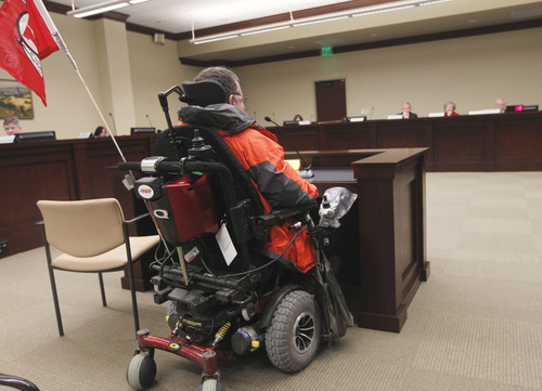Al Hartmann  |  The Salt Lake Tribune Louis Fazio, an advocate for the Coalition for People with Disabilities, testifies at a Social Services Appropriations hearing Friday that concerned whether to expand the low-income health program Medicaid.