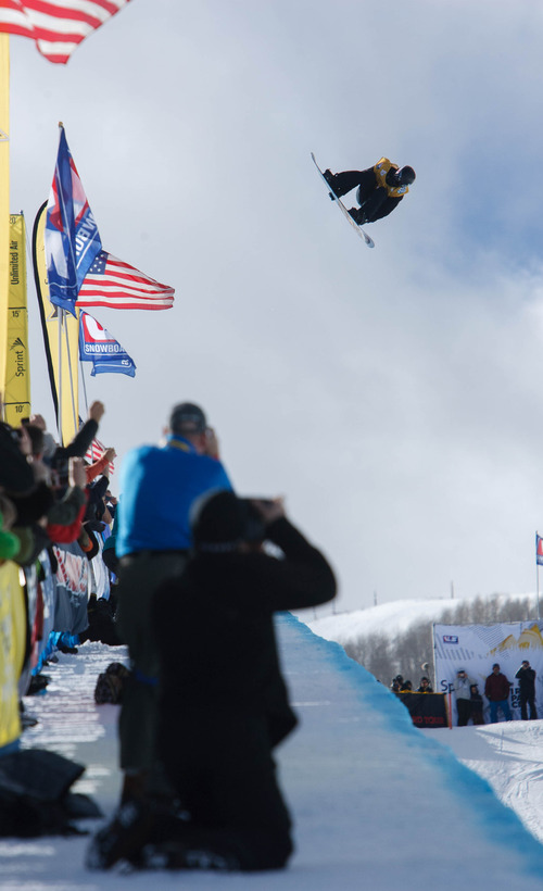 Trent Nelson  |  The Salt Lake Tribune Shaun White hits big air at the FIS Snowboard World Cup Friday, February 1, 2013 in Park City.