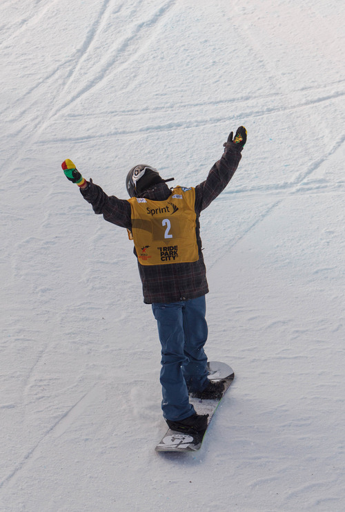 Trent Nelson  |  The Salt Lake Tribune Yiwei Zhang reacts to falling on his second run at the FIS Snowboard World Cup Friday, February 1, 2013 in Park City.