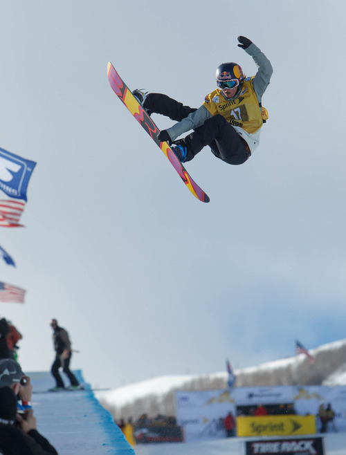 Trent Nelson  |  The Salt Lake Tribune Arielle Gold competes at the FIS Snowboard World Cup Friday, February 1, 2013 in Park City.