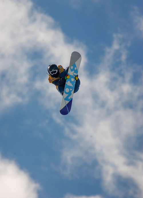 Trent Nelson  |  The Salt Lake Tribune Yiwei Zhang competes at the FIS Snowboard World Cup Friday, February 1, 2013 in Park City.