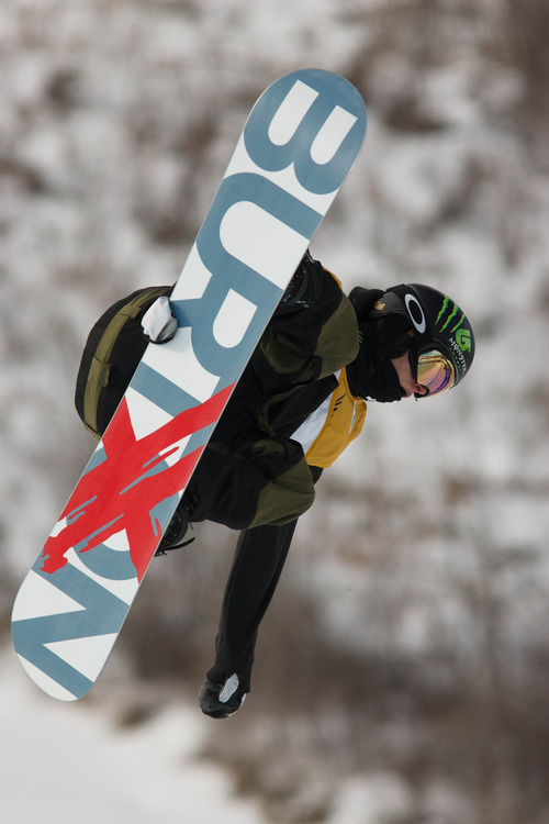 Trent Nelson  |  The Salt Lake Tribune Taylor Gold competes at the FIS Snowboard World Cup Friday, February 1, 2013 in Park City.