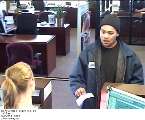 courtesy | Unified Police Department Police are asking the public's help in identifying a man they say robbed a Zions Bank in Magna Friday afternoon and is also suspected in the robbery Saturday morning of a West Valley City credit union.