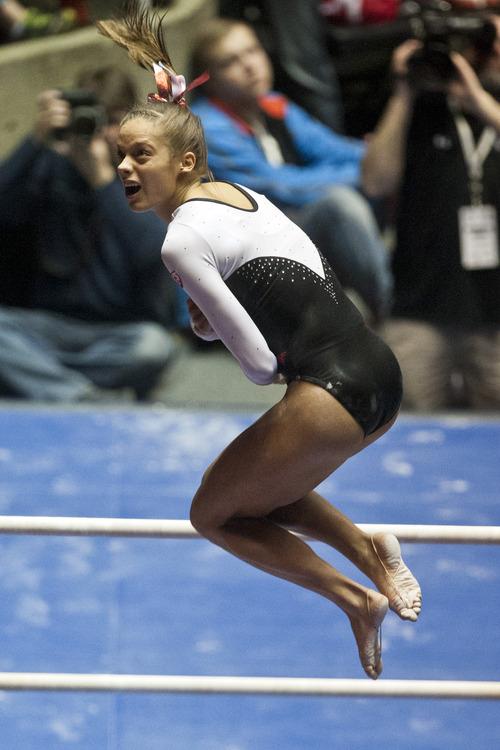 Chris Detrick  |  The Salt Lake Tribune Utah's Breanna Hughes competes on the bars during the meet against Arizona State at the Huntsman Center Friday February 1, 2013. Utah won 196.425 to 195.450.