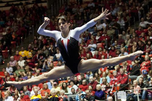 Chris Detrick  |  The Salt Lake Tribune Utah's Nansy Damianova competes on the floor during the meet against Arizona State at the Huntsman Center Friday February 1, 2013. Utah won 196.425 to 195.450.