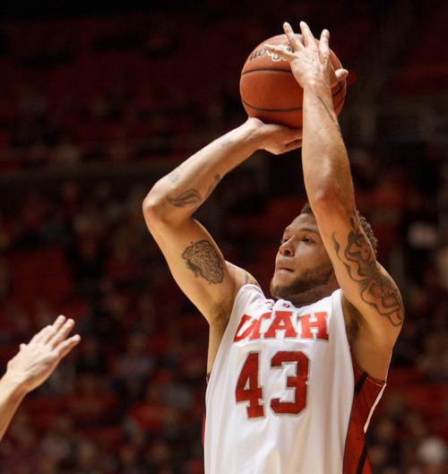 Trent Nelson  |  The Salt Lake Tribune Utah's Cedric Martin puts up a shot as Utah hosts Colorado, college basketball Saturday, February 2, 2013 in Salt Lake City.