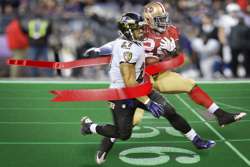 Francisco Kjolseth  |  The Salt Lake Tribune Photo illustration by Francisco Kjolseth Who will win the ultimate football race for Super Bowl XLVII?  The era of the Super Bore is long gone. The last five games have been close, usually featuring dramatic endings with memorable catches. So, what's in store for the Ravens-49ers?
