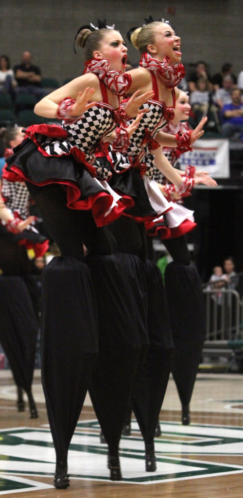 Rick Egan  | The Salt Lake Tribune   The Bountiful high school drill team performs in the 4A State Drill Championships, at  the UCCU Center in Orem, Friday, February 1, 2013. Bountiful took first place for the overall 4A trophy.
