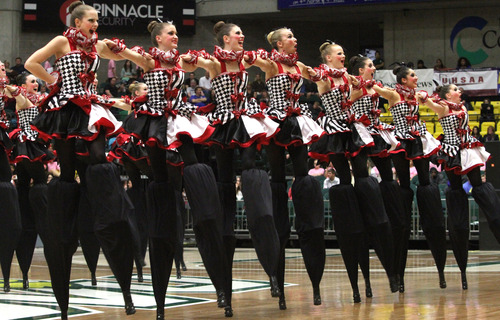 Rick Egan  |  The Salt Lake Tribune The Bountiful high school drill team performs in the 4A State Drill Championships, at  the UCCU Center in Orem, on Friday. Bountiful took first place for the overall 4A trophy.