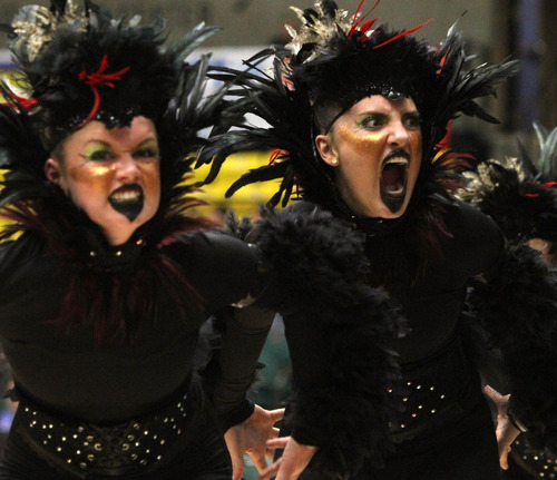 Rick Egan  | The Salt Lake Tribune   The Hillcrest high school drill team performs in the 4A State Drill Championships, at  the UCCU Center in Orem, Friday, February 1, 2013.