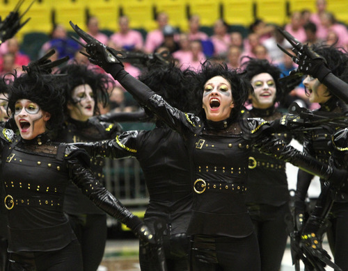 Rick Egan  | The Salt Lake Tribune   The Copper Hills High School drill team performs in the 5A State Drill Championships, at  the UCCU Center in Orem, Friday, February 1, 2013. Bountiful took first place for the overall 4A trophy.