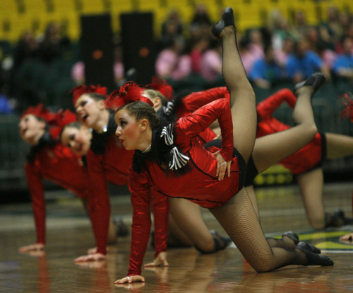 Rick Egan  | The Salt Lake Tribune   The Brighton high school drill team performs in the 5A State Drill Championships, at  the UCCU Center in Orem, Friday, February 1, 2013.