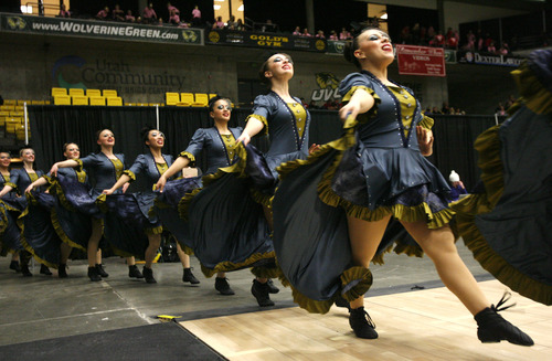 Rick Egan  | The Salt Lake Tribune   The Hunter high school drill team performs in the 5A State Drill Championships, at  the UCCU Center in Orem, Friday, February 1, 2013.