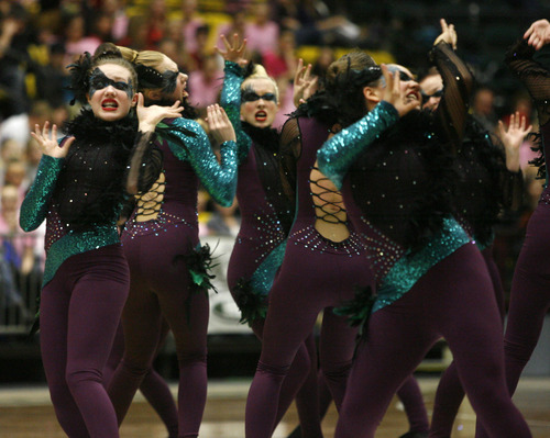 Nikiah Jones  | The Salt Lake Tribune   The Syracuse high school drill team performs in the 4A State Drill Championships, at  the UCCU Center in Orem, Friday, February 1, 2013.