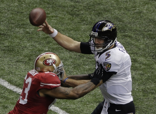 Baltimore Ravens quarterback Joe Flacco (5) attempts a pass as San Francisco 49ers linebacker NaVorro Bowman (53) defends during the second half of the NFL Super Bowl XLVII football game, Sunday, Feb. 3, 2013, in New Orleans. (AP Photo/Charlie Riedel)