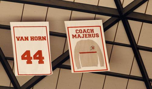 Trent Nelson  |  The Salt Lake Tribune Former Utah coach Rick Majerus' sweater is retired. Utah hosts Colorado, college basketball Saturday, February 2, 2013 in Salt Lake City.