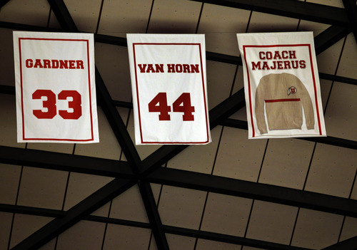 Former Utah head coach Rick Majerus' sweater is retired to the rafters of the Jon M. Hunstman Center during halftime of an NCAA college basketball game against Colorado on Saturday, Feb. 2, 2013 in Salt Lake City. Majerus coached at Utah for 14 years. (AP Photo/Steve C. Wilson)