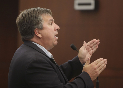 Michael Studebaker, attorney for some alleged Ogden Trece gang members, argues during a hearing about a gang injunction for the Ogden Trece gang at 2nd District Court in Ogden Monday, June 11, 2012. (Pool Photo MATTHEW ARDEN HATFIELD)