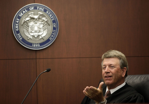 Judge Ernie Jones rules on a motion during a hearing about a gang injunction for the Ogden Trece gang at the Second District Court in Ogden Monday, June 11, 2012. (Pool Photo MATTHEW ARDEN HATFIELD)