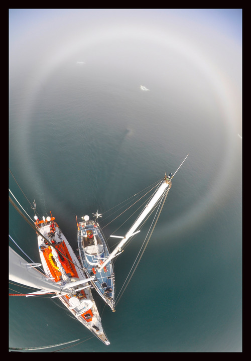 An aerial shot of the boats used on an expedition in Antarctica in 2012. Courtesy Mike Libecki