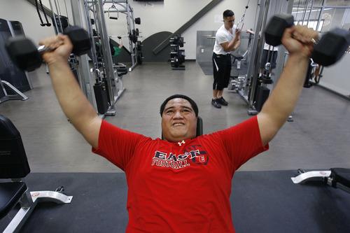 Scott Sommerdorf   |  The Salt Lake Tribune Merrill Taliauli lifts weights at the Northwest Multipurpose Center, Friday, Jan. 25, 2013.