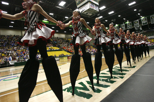 Rick Egan  | The Salt Lake Tribune   The Bountiful high school drill team marches off the floor, after performing in the 4A State Drill Championships, at  the UCCU Center in Orem, Friday, February 1, 2013.