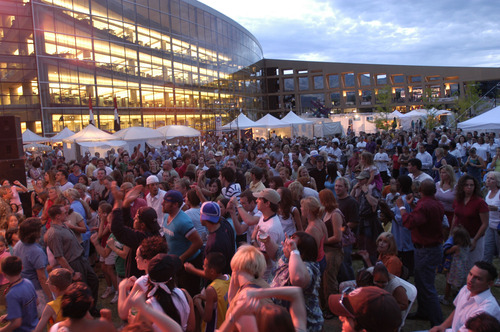 Folks pack the square outside the Salt Lake City Library during last year's Utah Arts Festival.