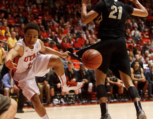 Trent Nelson     The Salt Lake Tribune Utah's Brandon Taylor collides with Colorado's Andre Roberson as Utah hosts Colorado, college basketball Saturday, February 2, 2013 in Salt Lake City.