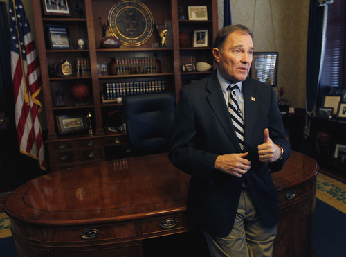 Al Hartmann  |  The Salt Lake Tribune Gov. Gary Herbert discusses stragegies to reach a goal of  66 percent of Utahns holding post secondary degrees or certificates by 2020.  Herberts comments on Monday came less than a week after Utah Democrats criticized Herbert for not having a strong enough plan to improve education.