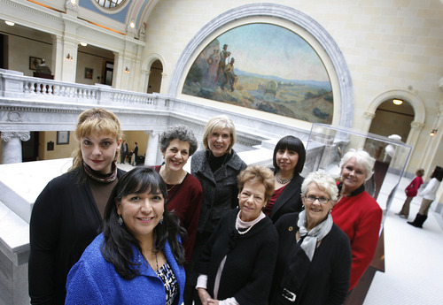 Scott Sommerdorf   |  The Salt Lake Tribune Women make up a majority of one party in the House and the Senate for the first time. Here, the eight women Democrats in the Utah House of Representatives pose for a photo in the Capitol . From left to right: Minority Leader Jennifer Seelig, D-Salt Lake City; Rep. Rebecca Chavez-Houck, D-Salt Lake City; Minority Asst. Whip Rep. Patrice Arent, D-Millcreek; Rep. Marie Poulson, D-Cottonwood Heights; Rep. Janice Fisher, D-West Valley City; Rep. Angela Romero, D-Salt Lake City; Rep. Carol Spackman Moss, D-Holladay; and Rep. Susan Duckworth, D-Magna at far right.