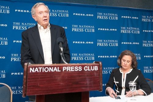 Courtesy | Noel St. John / National Press Club Former Interior Secretary Bruce Babbitt announces his Plan To Strengthen America's Energy Future and Conservation Legacy at a National Press Club Newsmaker, Tuesday, Feb. 5, 2013. Also pictured is Patty Giglio, member of the Newsmakers Committee who moderated the event.