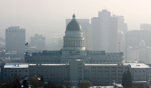 Steve Griffin | The Salt Lake Tribune   The Utah State Capitol rises above the inversion in Salt Lake City, Utah Monday February 4, 2013.