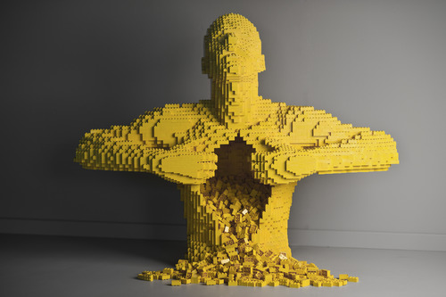"""""""Yellow,""""  by New York artist Nathan Sawaya, whose exhibit """"The Art of the Brick"""" -- featuring Sawaya's artworks made from Legos -- will open Feb. 9 at the Kimball Art Center in Park City. Courtesy Kimball Art Center"""