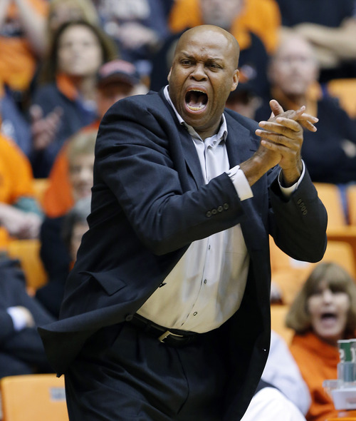 Oregon State coach Craig Robinson reacts from the bench during the first half of an NCAA college basketball game against Arizona in Corvallis, Ore., Saturday, Jan. 12, 2013. (AP Photo/Don Ryan)