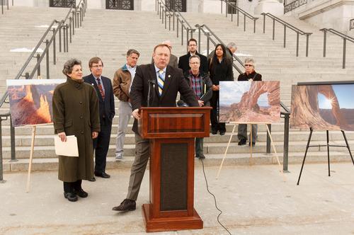 Trent Nelson  |  The Salt Lake Tribune Sen. Jim Dabakis D-Salt Lake City, announced his bill to protect Canyonlands National Park at the Utah Capitol building Tuesday, February 5, 2013 in Salt Lake City.