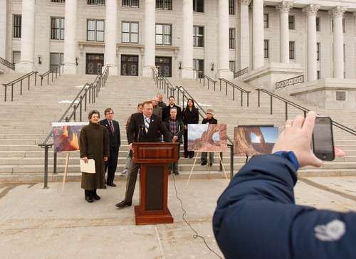 Trent Nelson  |  The Salt Lake Tribune Sen. Jim Dabakis D-Salt Lake City, announced his bill to protect Canyonlands National Park at the Utah Capitol building Tuesday, February 5, 2013 in Salt Lake City.